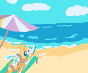 A bee playing gameboy at the beach!