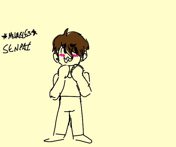 brown haired man blushed and mumbles senpai
