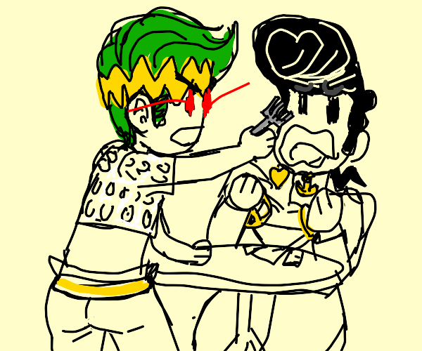 Rohan assaulting Josuke with a fork