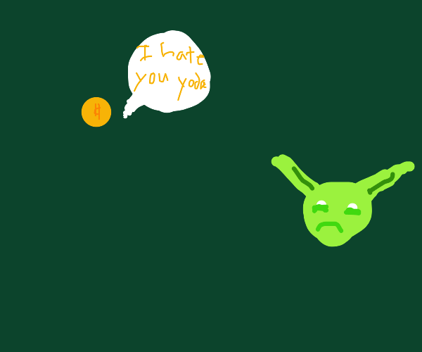 A gold 25-cent coin is angry at Yoda