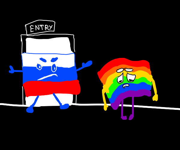flag of russia denying pride flag entry
