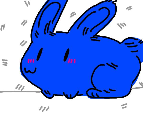 An weird blue bunny with weird eyes and month