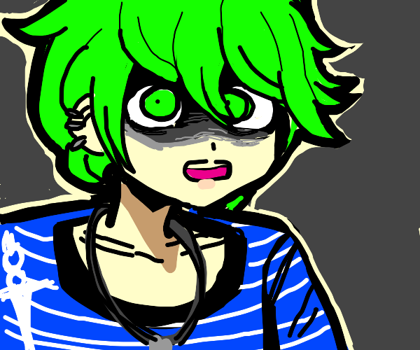 Green Haired Boy Looks At You Obssesively