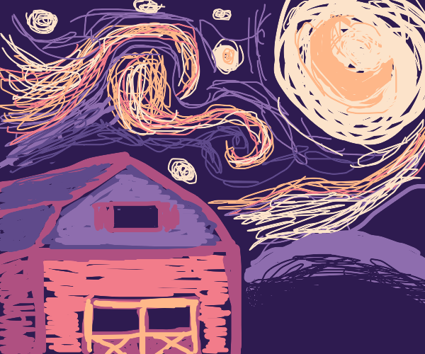 A starry night at a barn