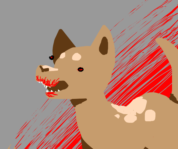 brown dog with bloody mouth and sharp teeth