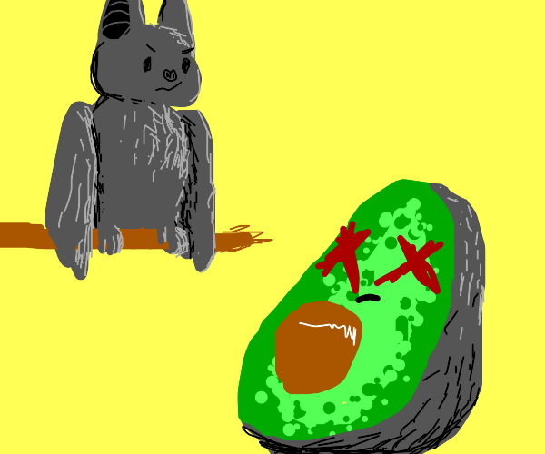 Bat looks menacingly at dead avocado