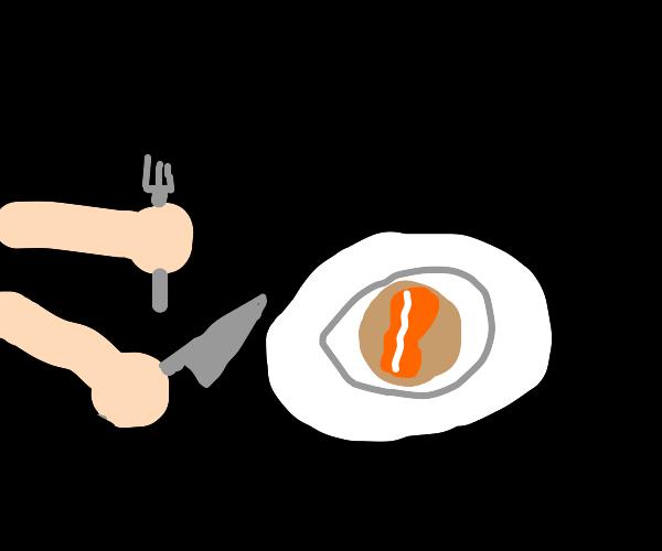 A person eating a bacon pancake