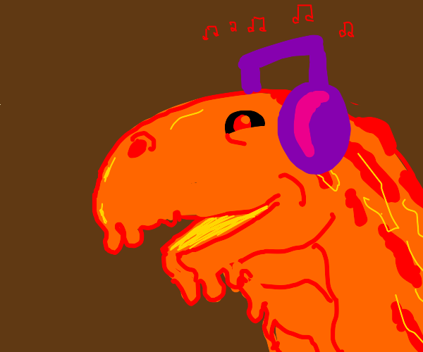 Lava monster listening to music