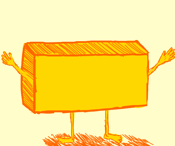 Wide yellow cube with human limbs