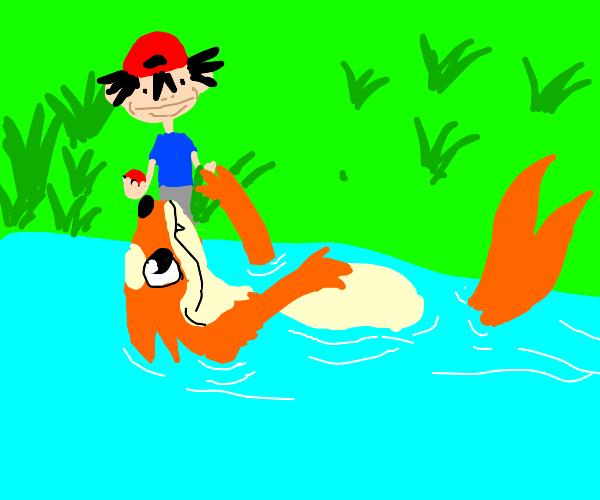 Floatzel (Pokémon) swimming on its back