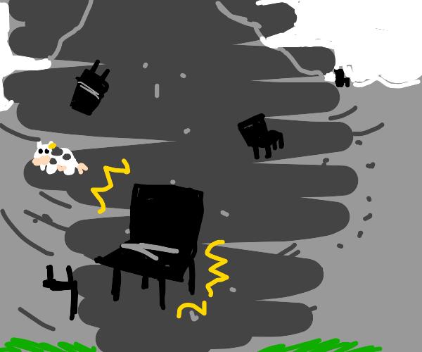 chairs in a tornado