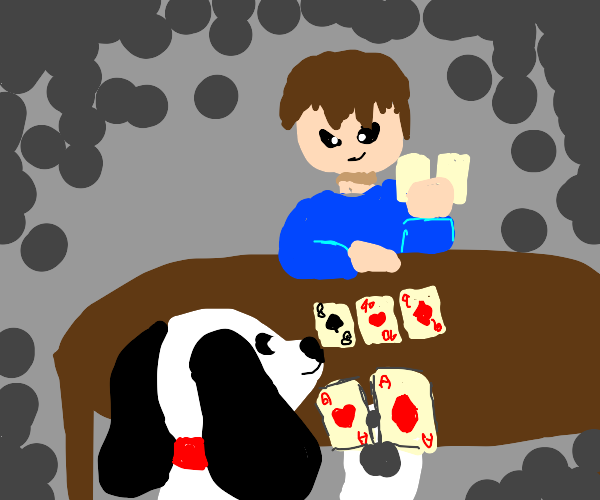 dog and human playing poker