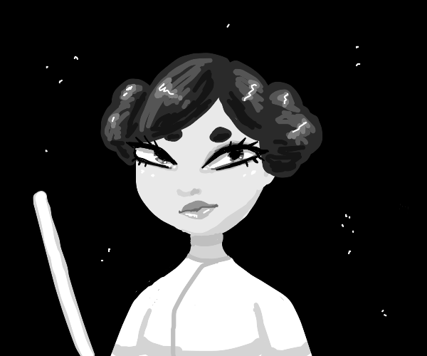 Princess Leia left in space with a lightsaber