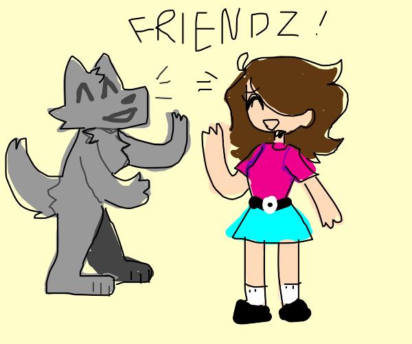 A friendly werewolf and a woman talking