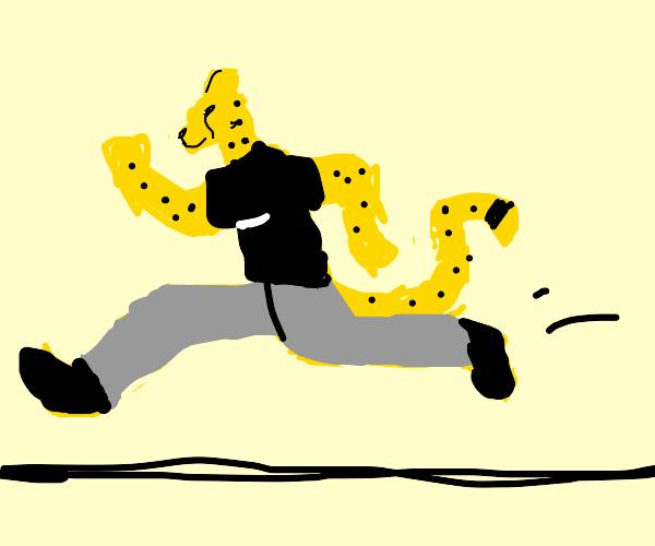Jogging cheetah furry