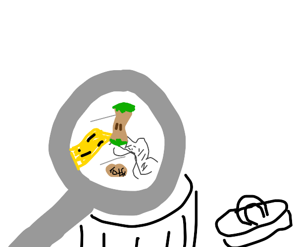 investigating garbage with magnifying glass