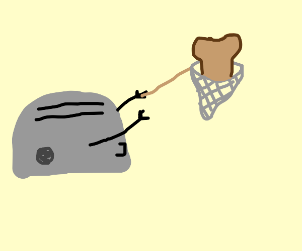 Toaster catches toast with butterfly net