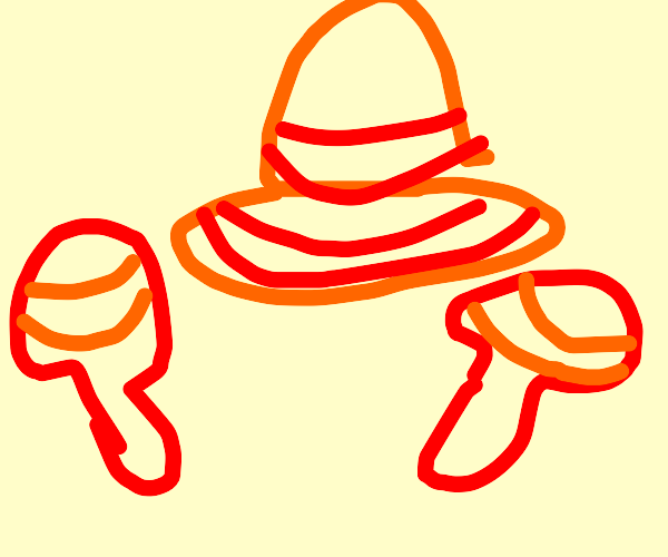 a mexican hat and 2 maracas