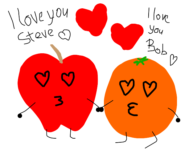 apple(bob) mutually loves orange (steve) :)