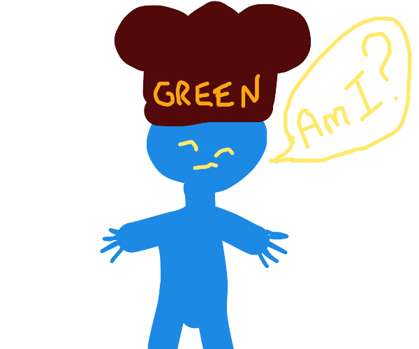 Blue man with green chef hat asks Am I?