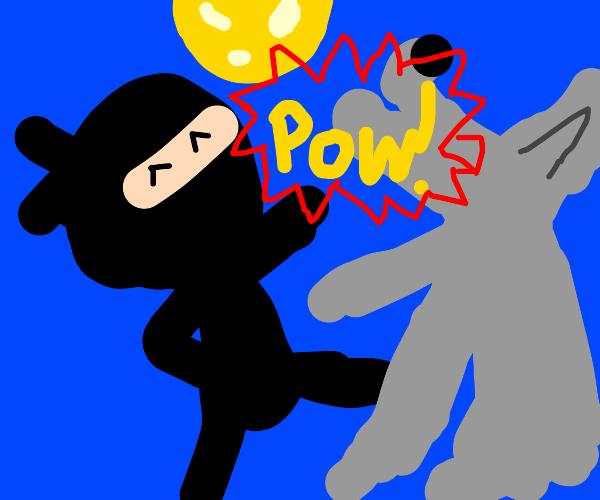 Ninja fights werewolf