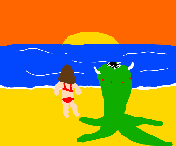 moster and human in the sunset