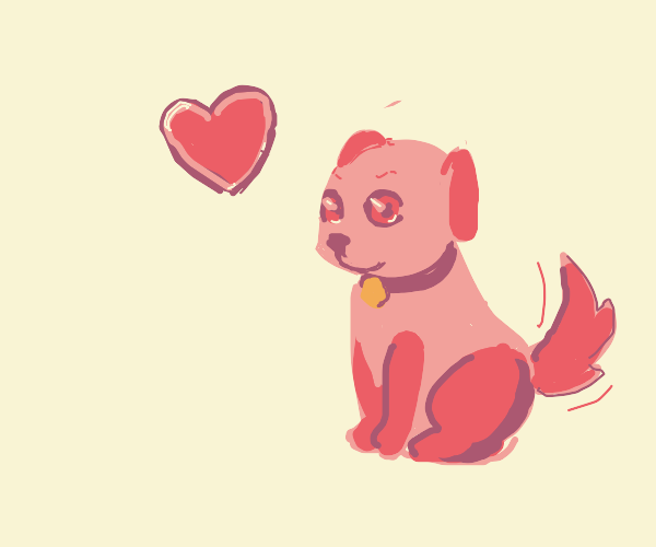 Very cute pink dog that loves you