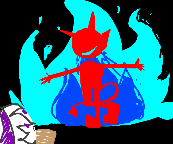 summon a red deamon out of blue flames