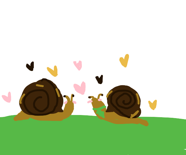2 snails in love. One of the snails has a tie