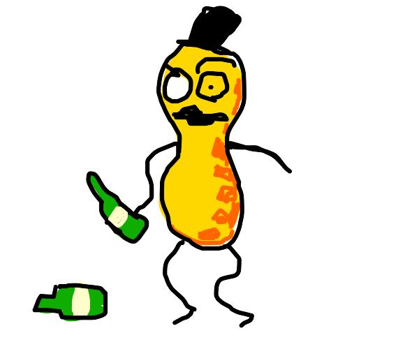 Mr. Peanut drinks alcohol