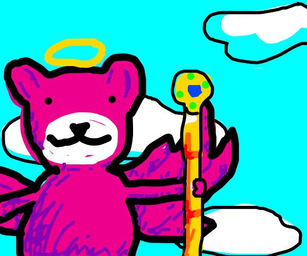 The Pink Angel Bear Holding A Golden Staff