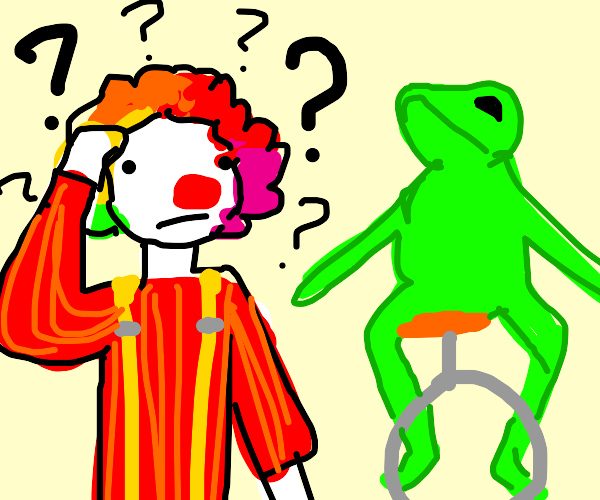 Clown is confused by Dat Boi
