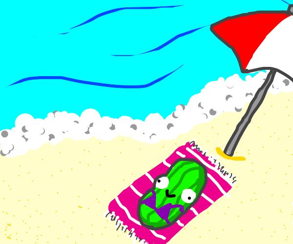 pickle sunbathing
