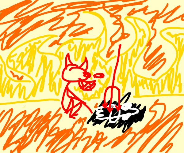 Satan torturing a ghost