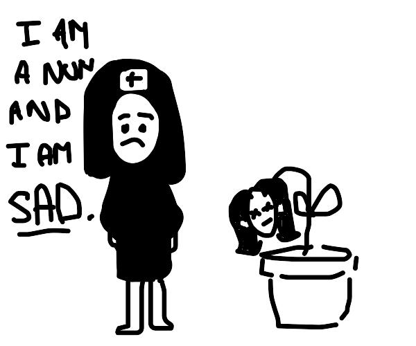Sad nun with dead human plants