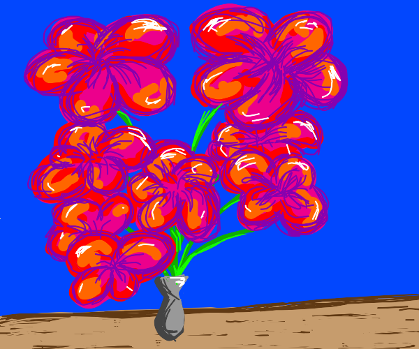 Giant flowers in a vase