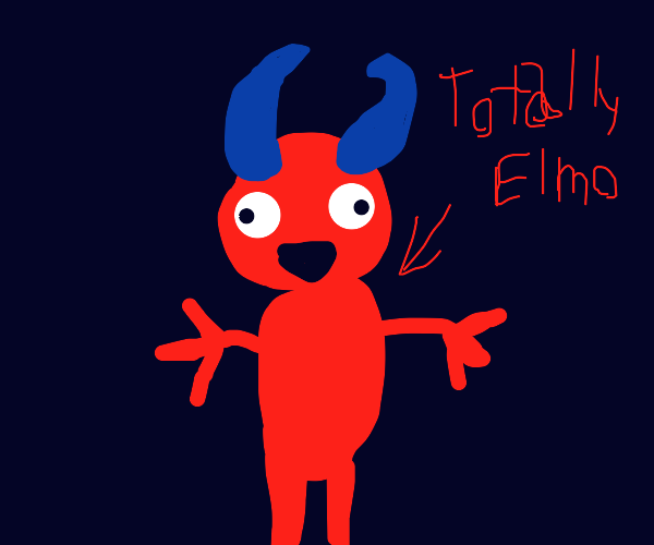 Elmo, but with blue horns and devils for hand
