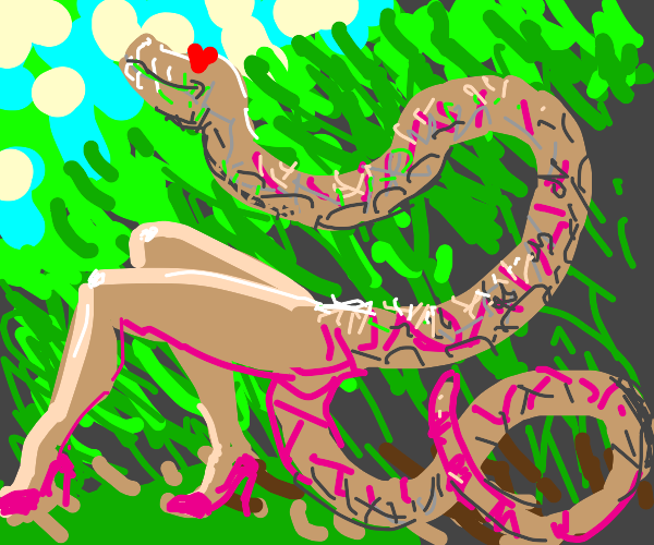 snake with legs in love