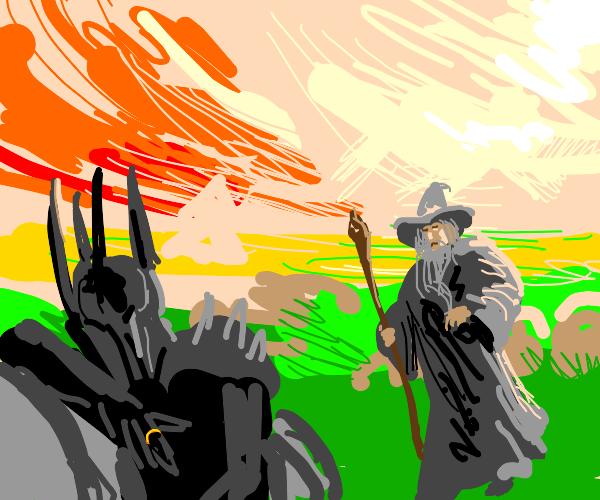 Gandalf approaches dead Sauron