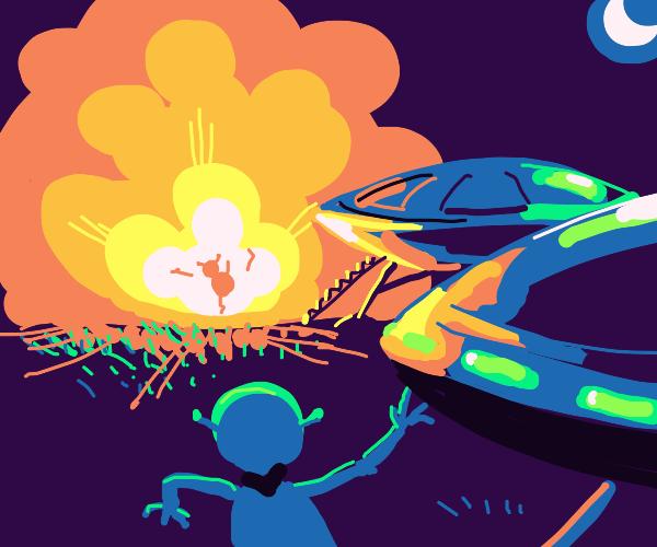 alien watches another alien explode