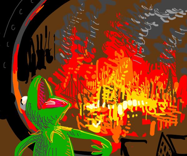 Kermit watches the world burn