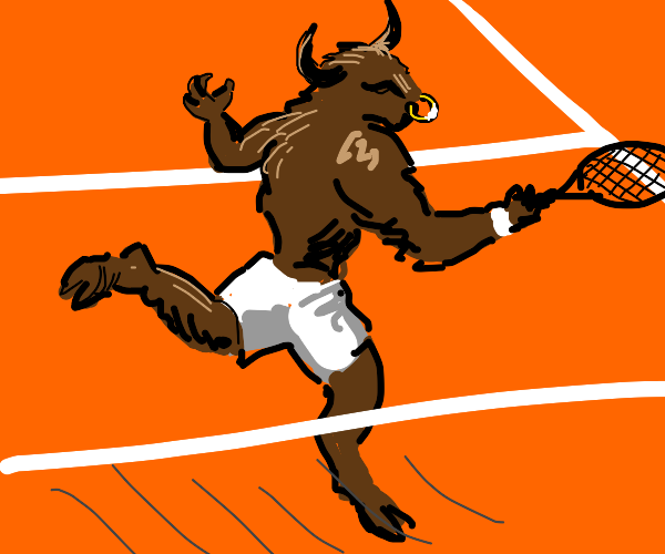 minotaur playing tennis