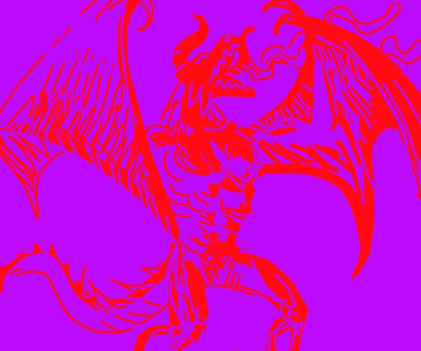 Angry dragon-like demon