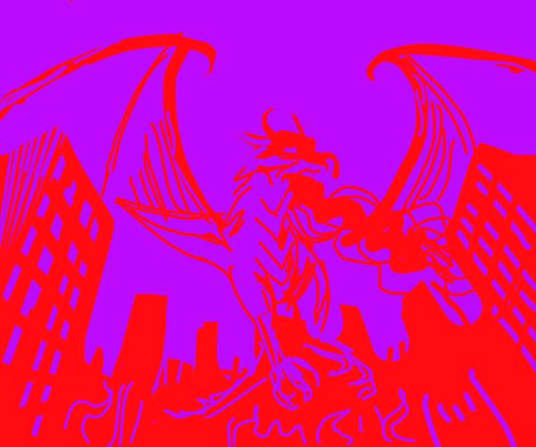 Dragon invades city