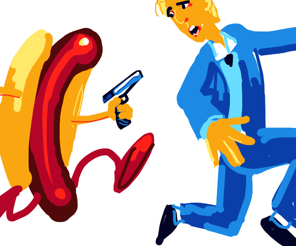 hot dog with gun chases man