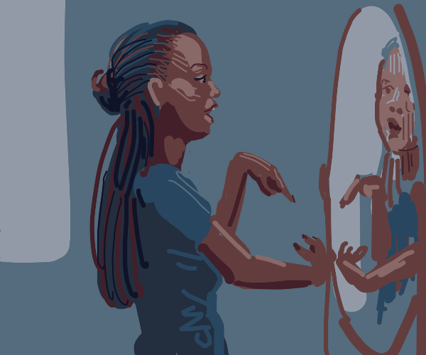 Girl with dreads speaking gibberish to hersel