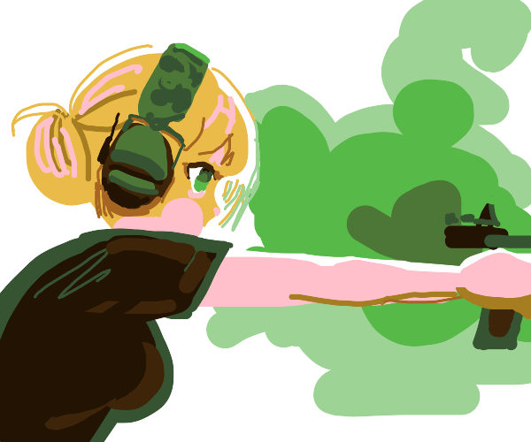 Anime waifu doing target practice with gun