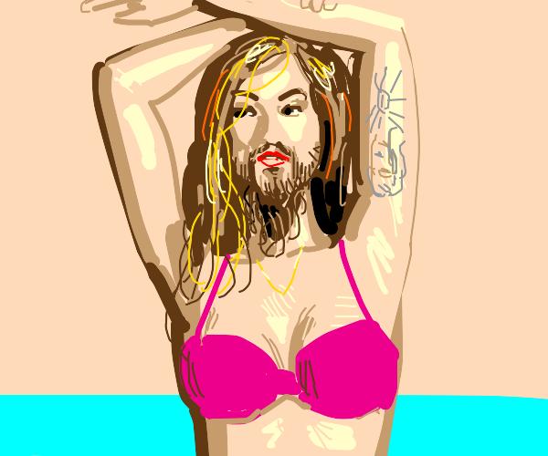 Bearded lady dressed to swim