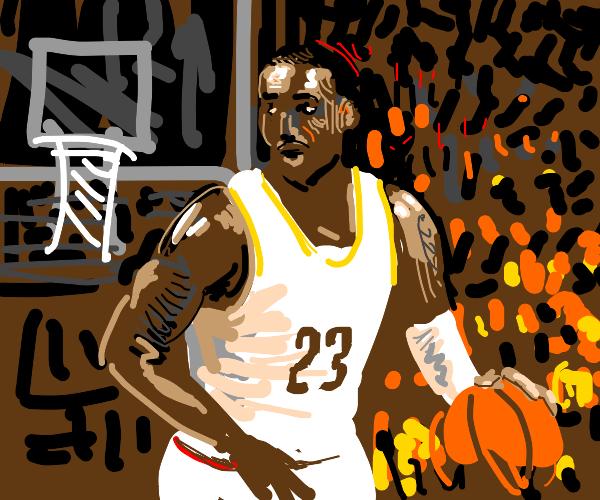 Lebron James plays basket ball