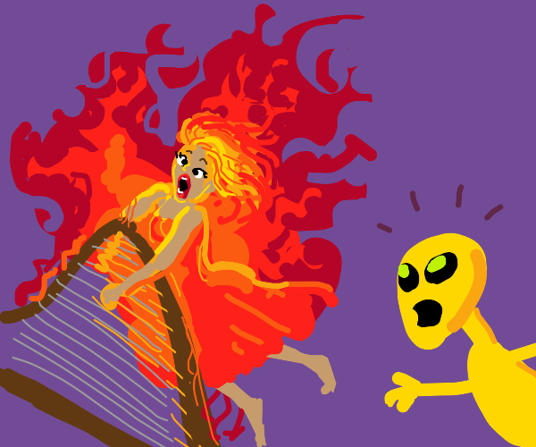 Harpist is on fire, surprises yellow alien